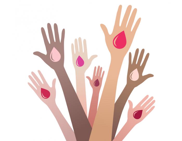 mãos doando sangue