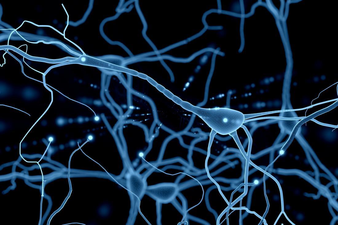 Ilustração neurônio rede azul