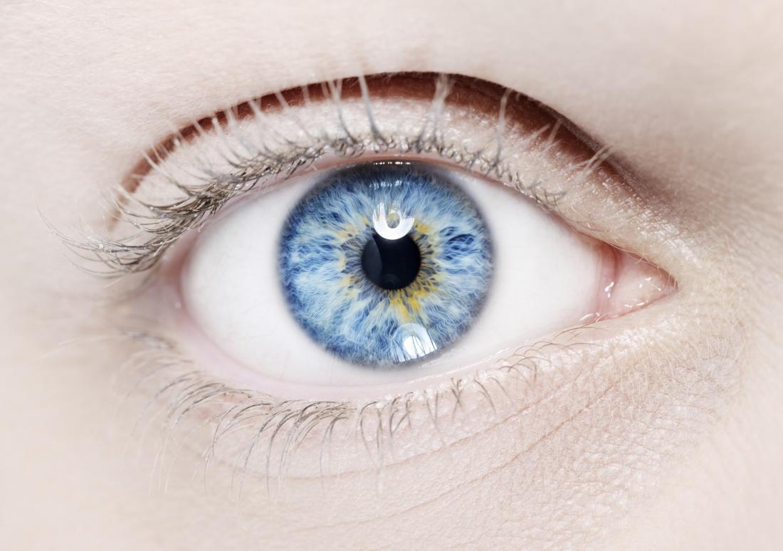 Farklı renkler ile parlak mavi göz.