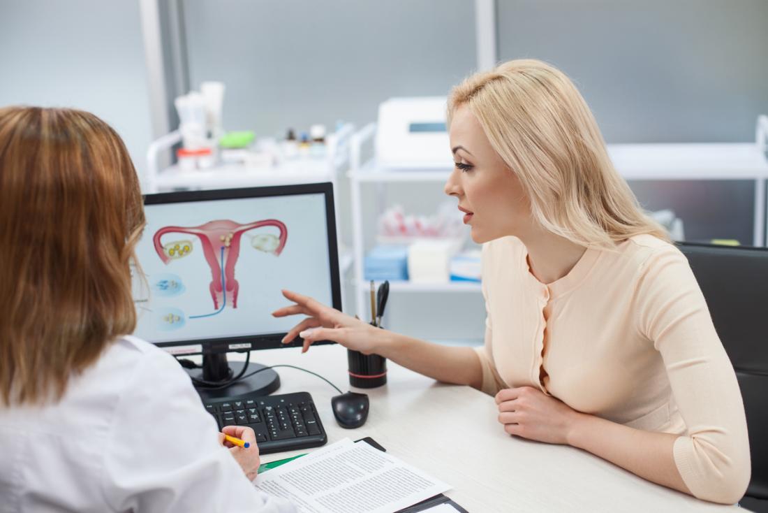 婦人科医および患者。