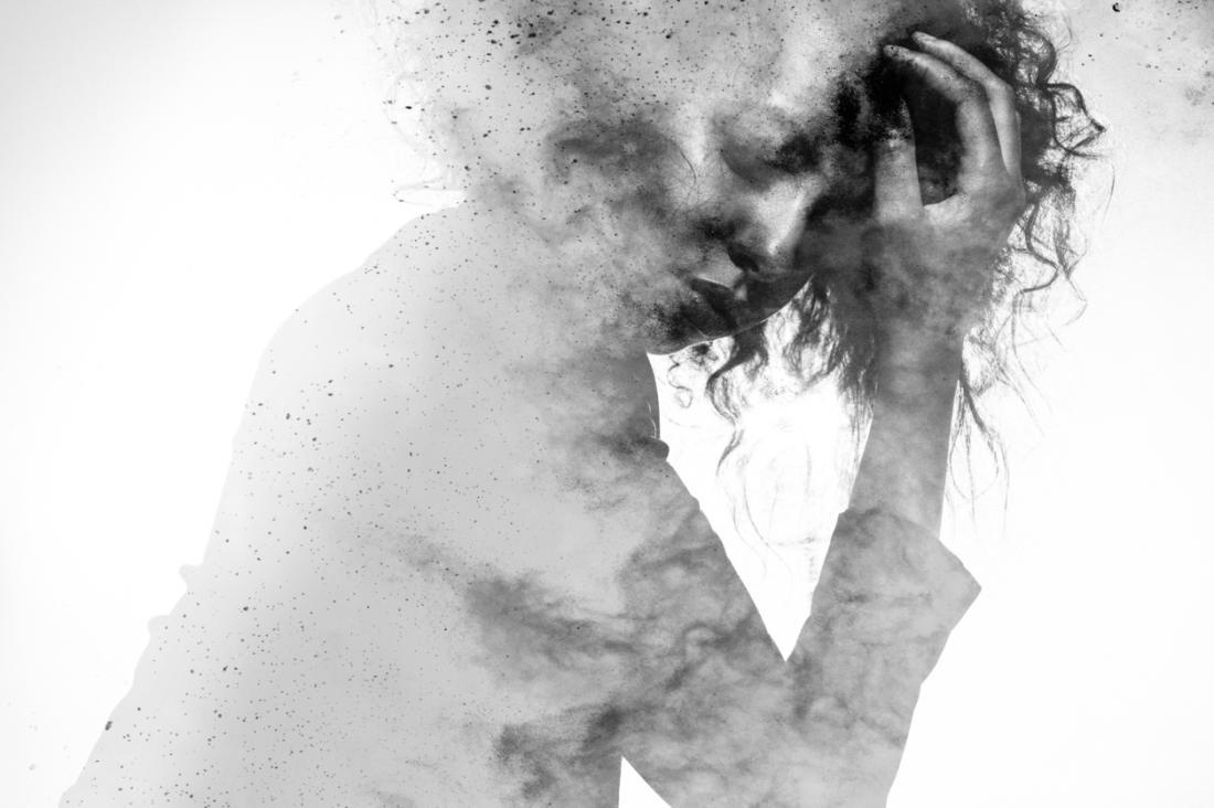 representação artística da mulher com dor de cabeça