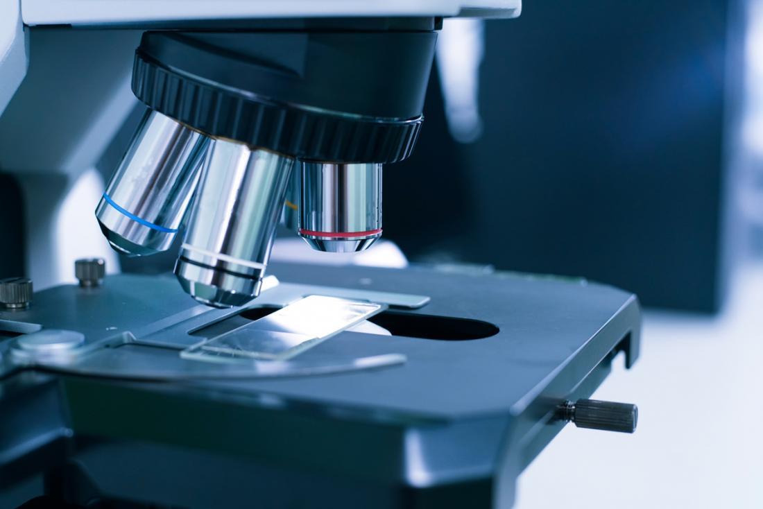 Mikroskop, das benutzt wird, um Prostatabiopsie zu überprüfen
