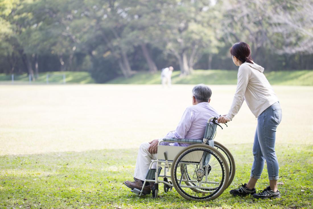 Vieil homme en fauteuil roulant à l'extérieur avec le soignant.
