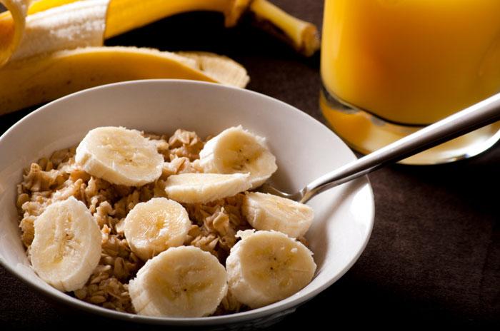 Banany i płatki owsiane