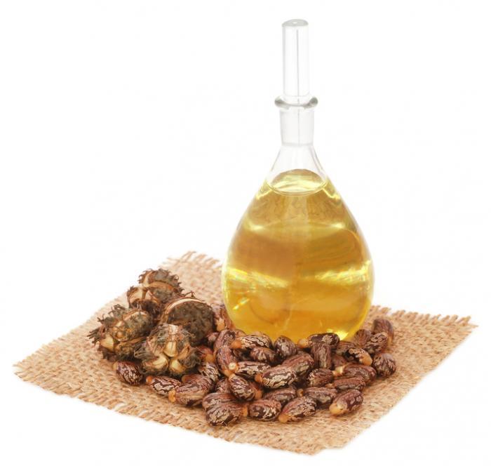 Huile de ricin dans une bouteille transparente et des graines de ricin