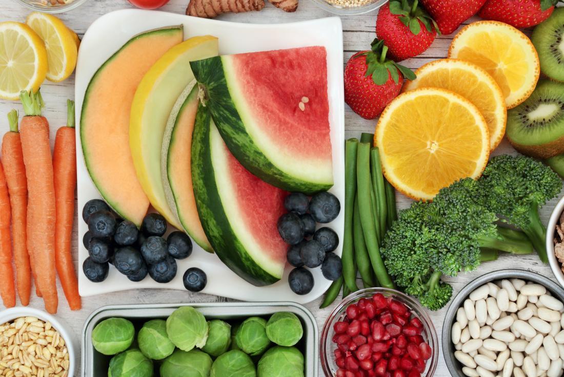 seleção de frutas e legumes