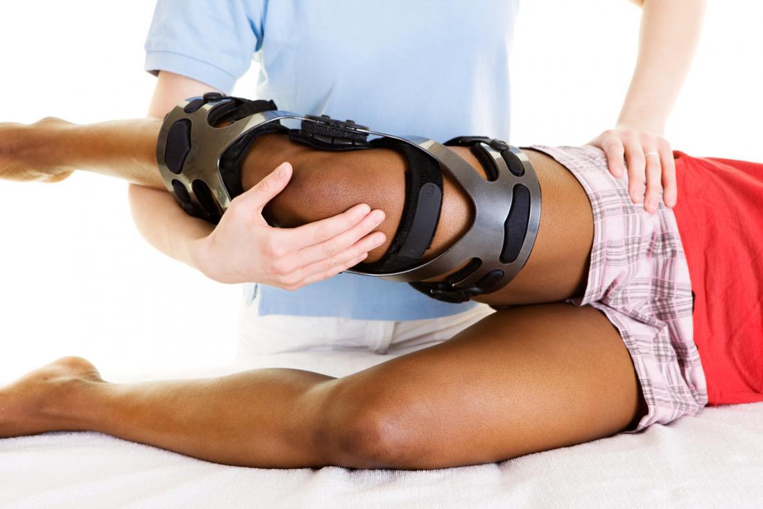 理学療法における膝のブレースまたは副子。
