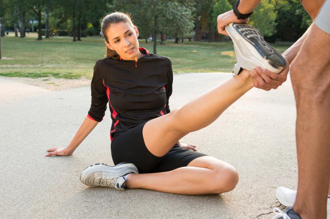Dorsiflessione gamba e piede stretch.