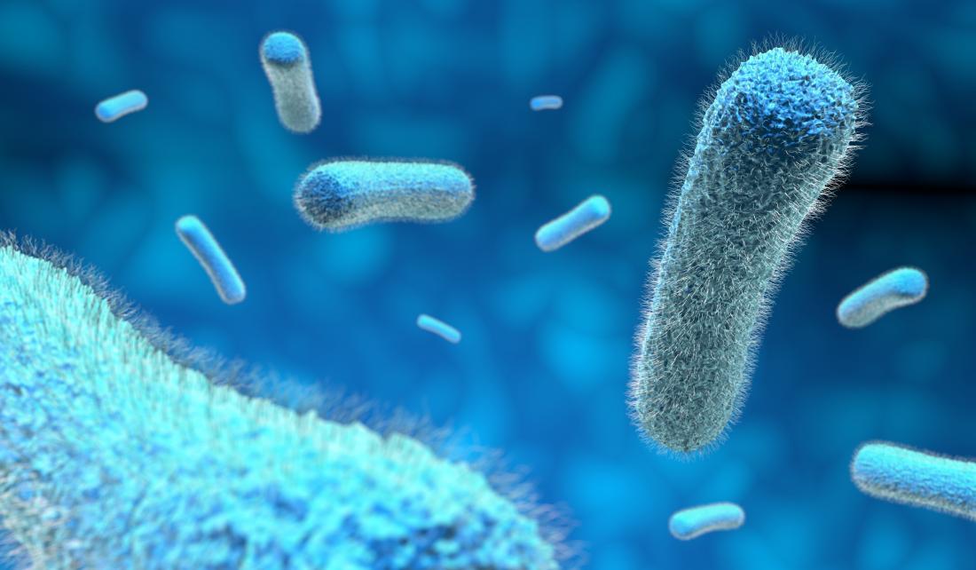 микроби в синьо