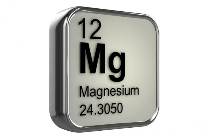 Le symbole chimique du magnésium.
