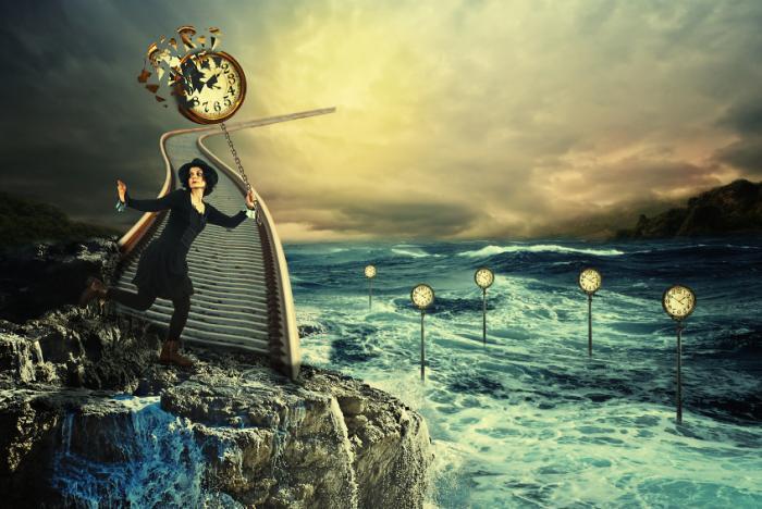 人は時計で超現実的な幻覚を抱えています。