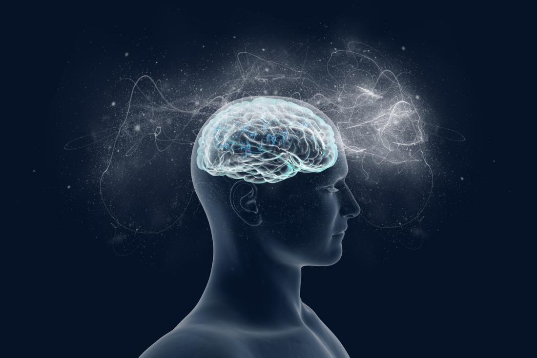 Một người đàn ông với các tế bào thần kinh bắn trong một sơ đồ mặt cắt ngang.