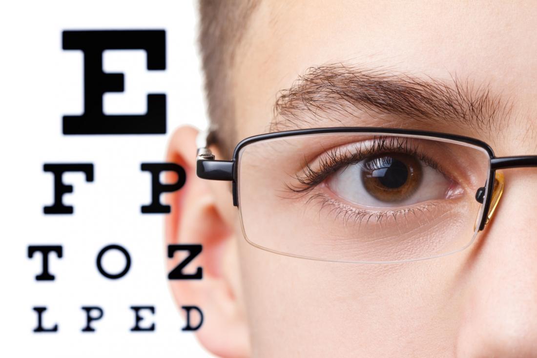 Garçon avec des lunettes test d'oeil
