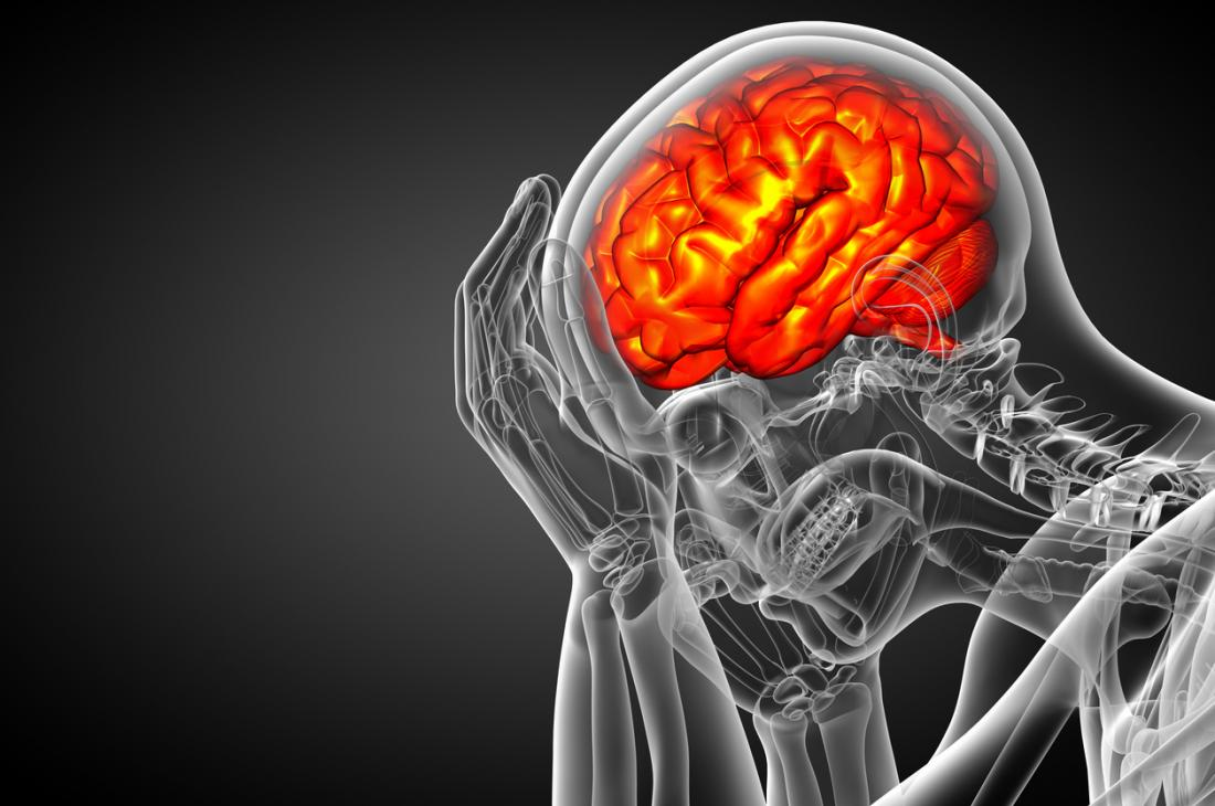 Illustration de squelette homme triste cerveau