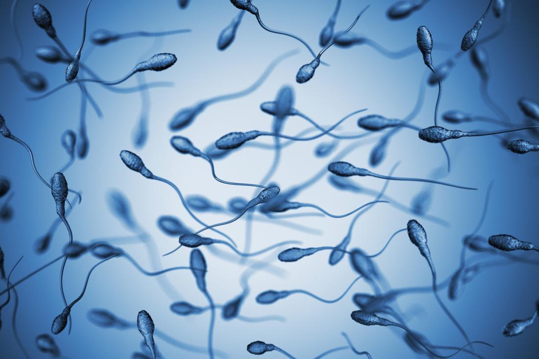 sperme sur un fond bleu