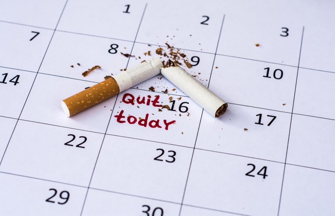 cigarette cassée sur un calendrier