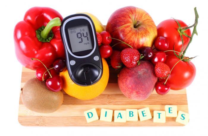 グルコースメーターと糖尿病の果物。