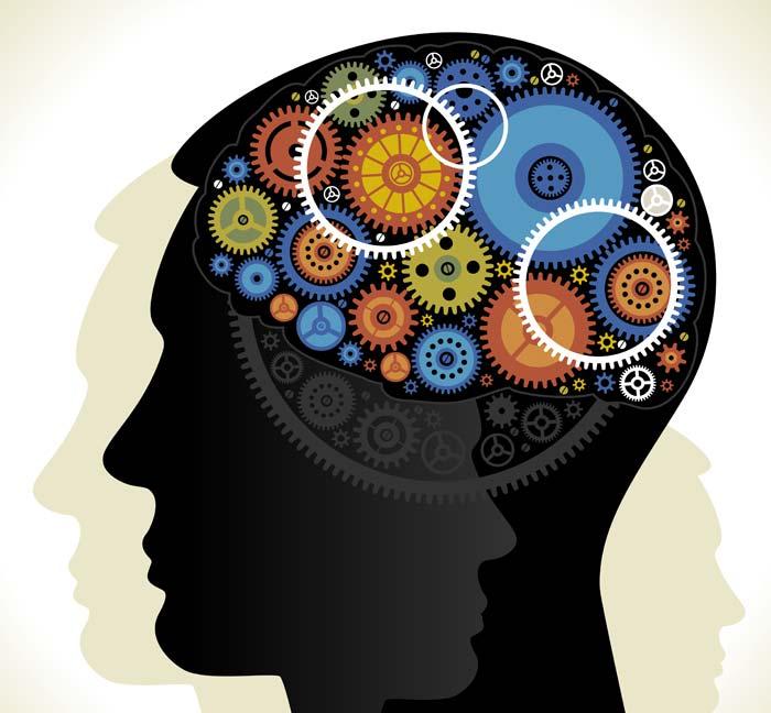 Illustration de la tête, du cerveau et des engrenages dans la tête