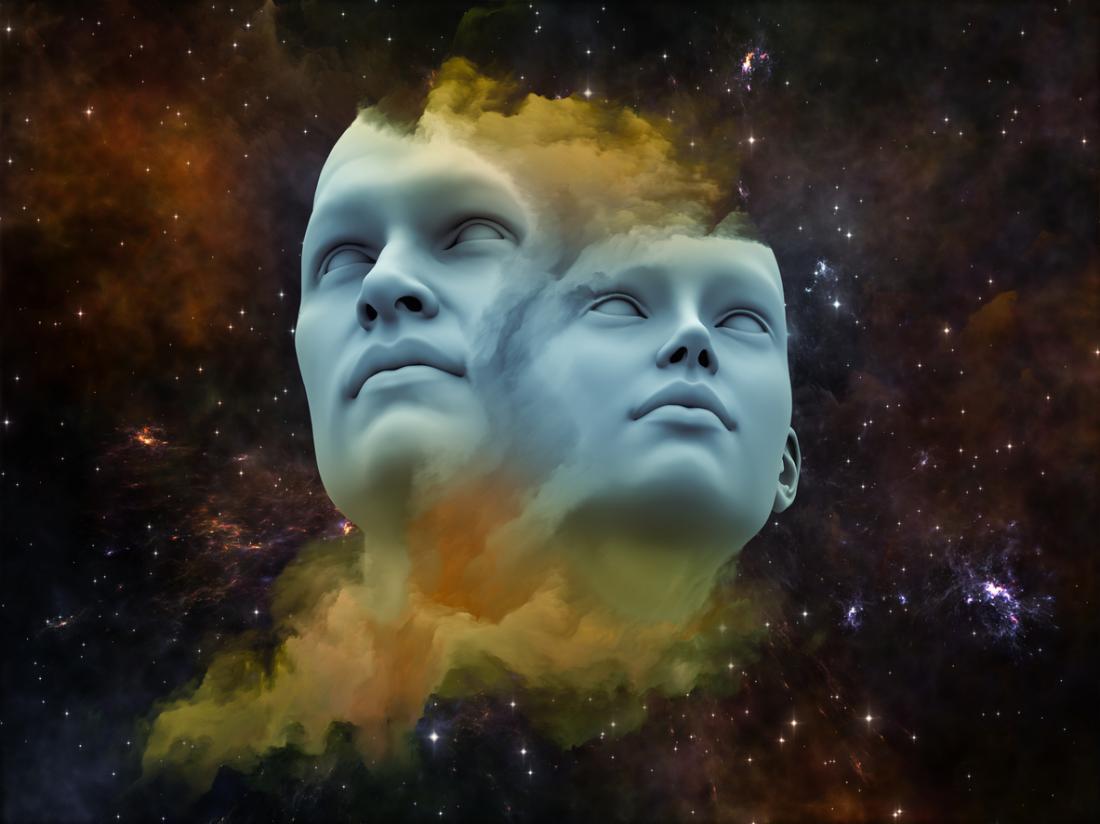 concetto artistico di testa maschile e femminile