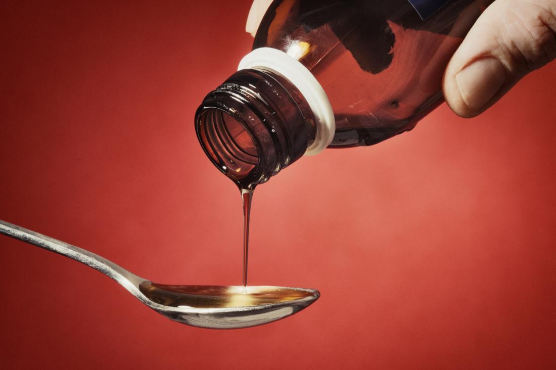 咳の薬をスプーンに注ぐ男