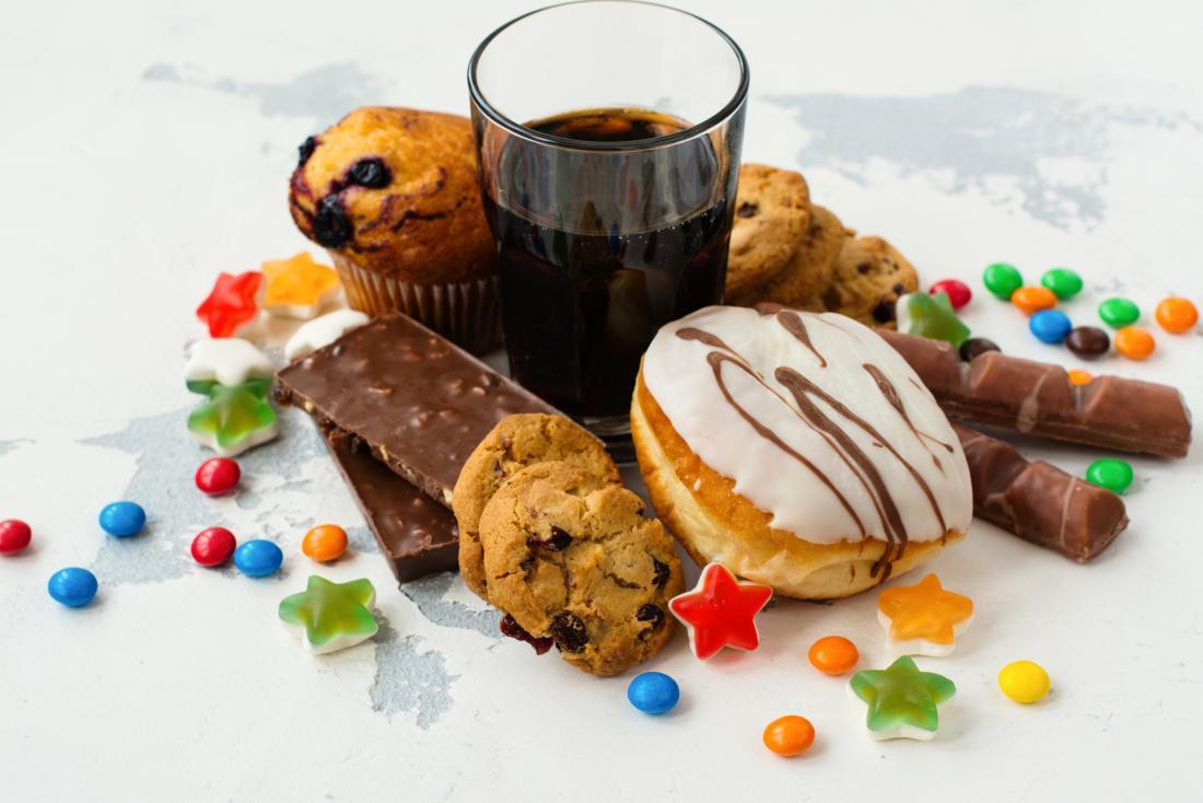 Auswahl von Produkten mit hohem Zuckergehalt