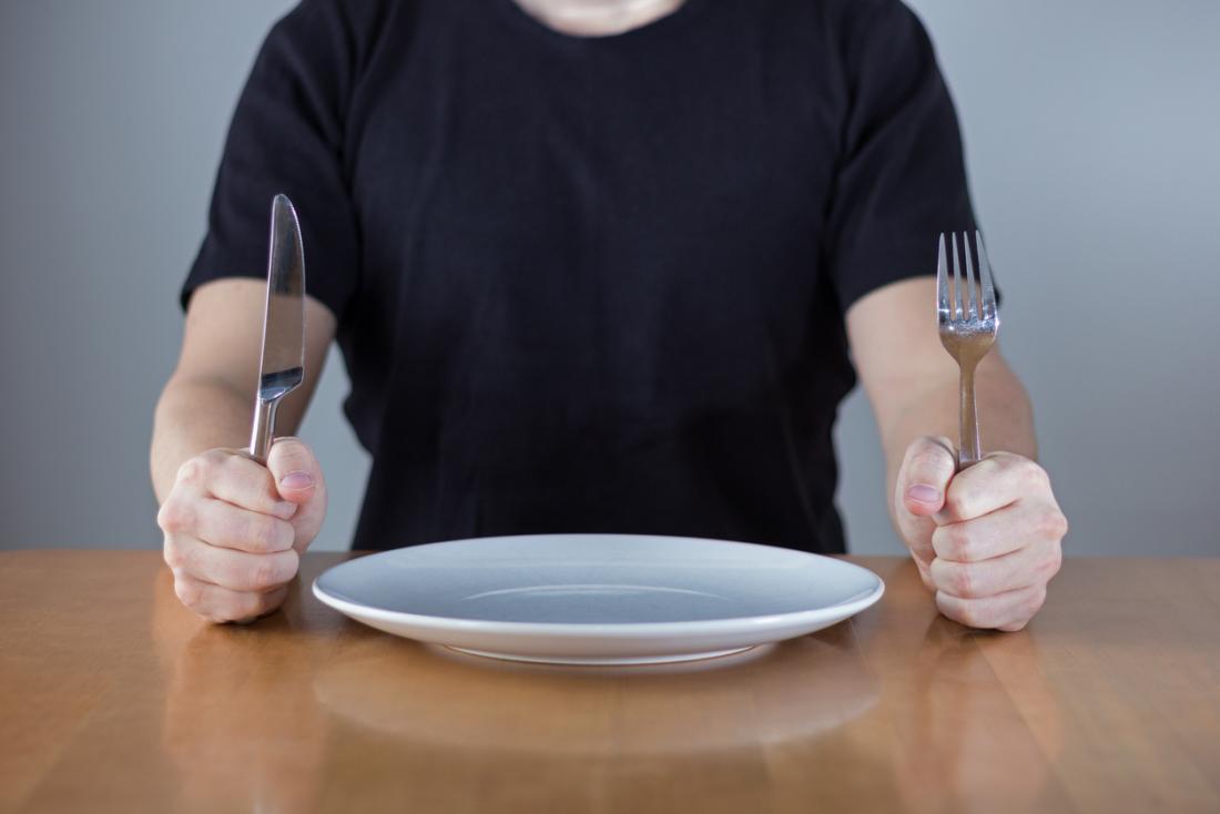 Uomo con un piatto vuoto e posate