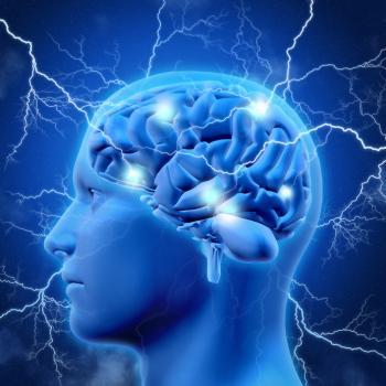 [das menschliche Gehirn mit Blitzen]
