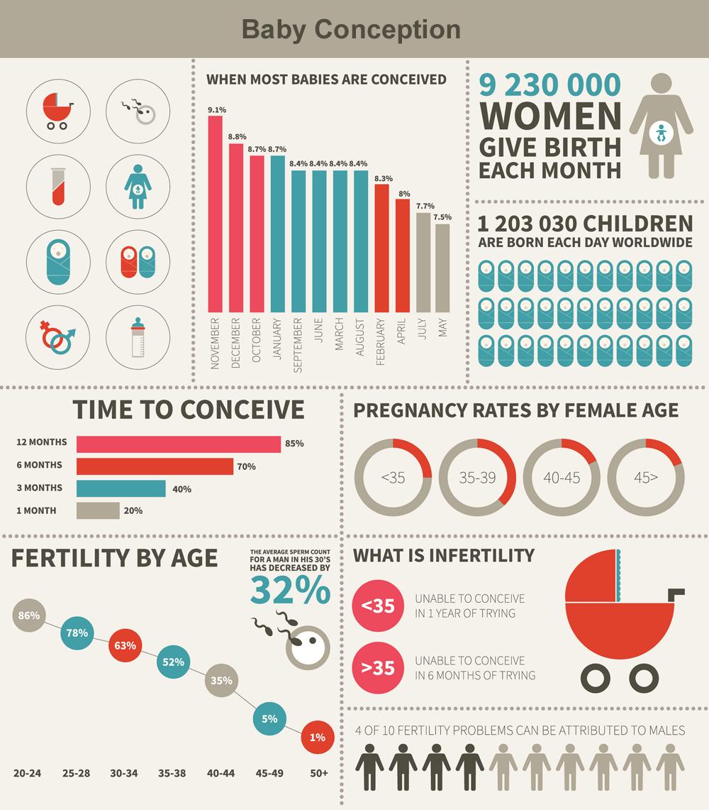 Infográfico da concepção do bebê e infertilidade