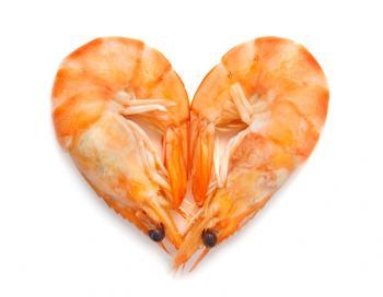 crevette crevette en forme de coeur