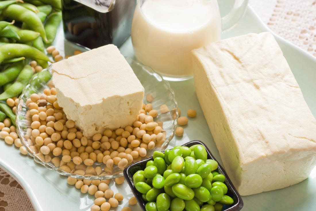 uma seleção de produtos de soja