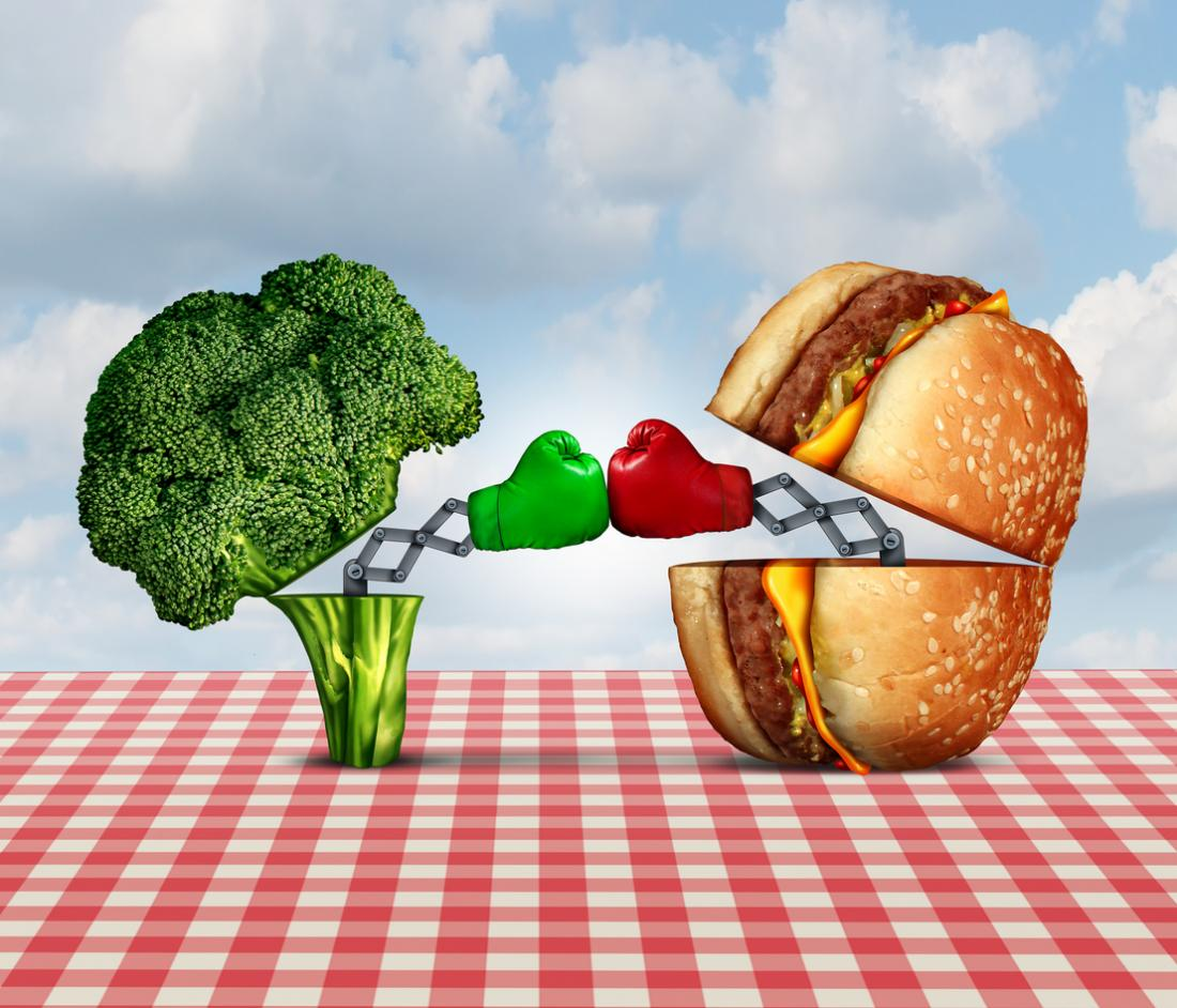 hamburger contre brocoli