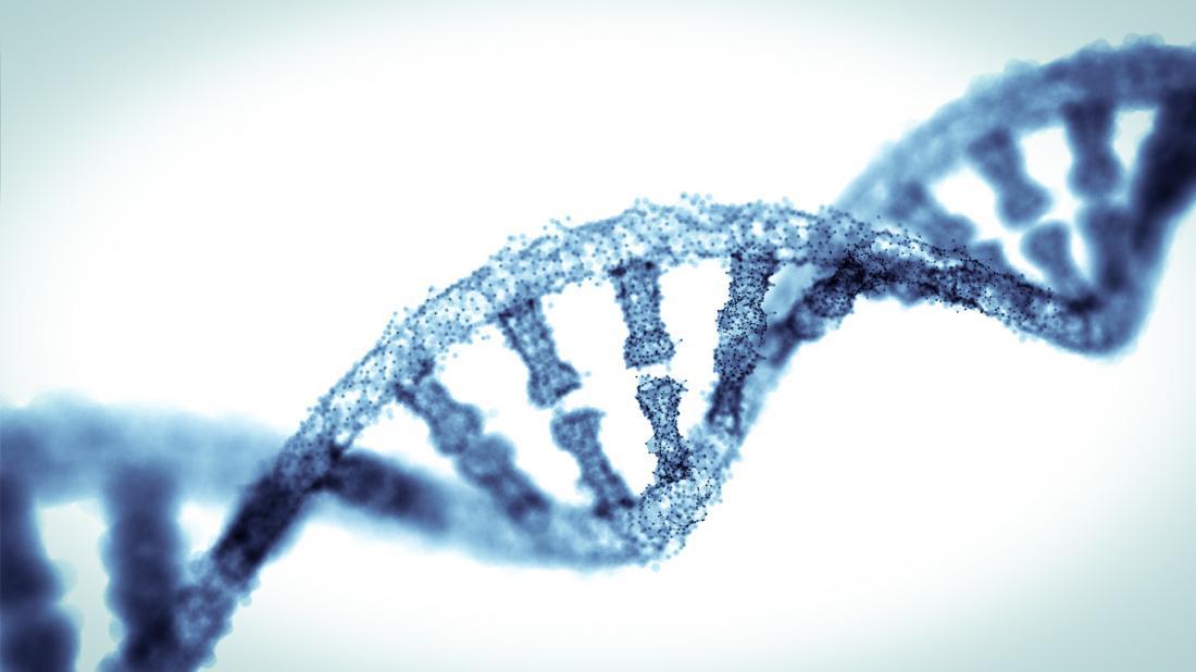 Primo piano di un filamento di DNA