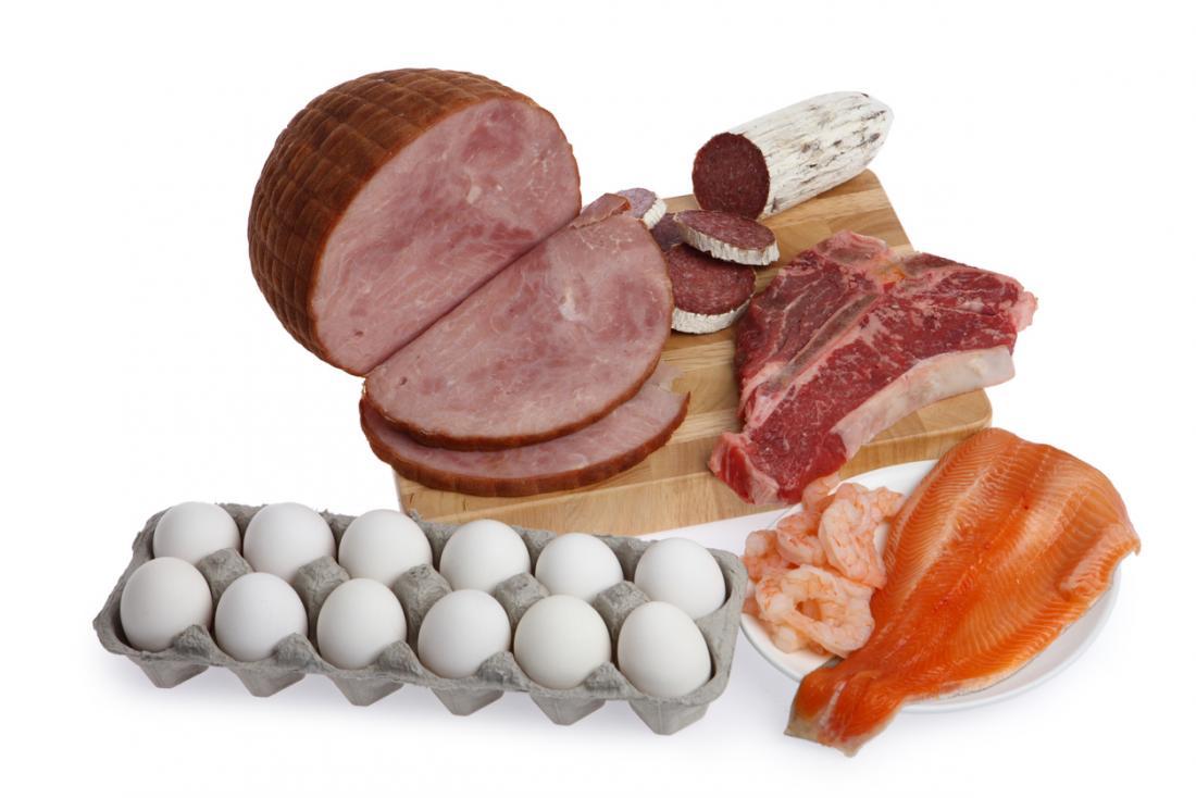 rotes Fleisch, Fisch und Eier