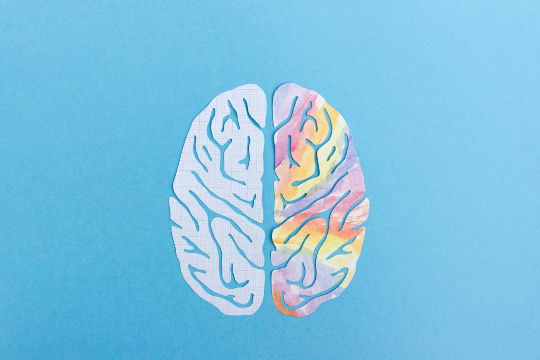 Emisfero del cervello sinistro e del cervello destro rappresentato dall'illustrazione con lati semplici e colorati del cervello su sfondo blu.