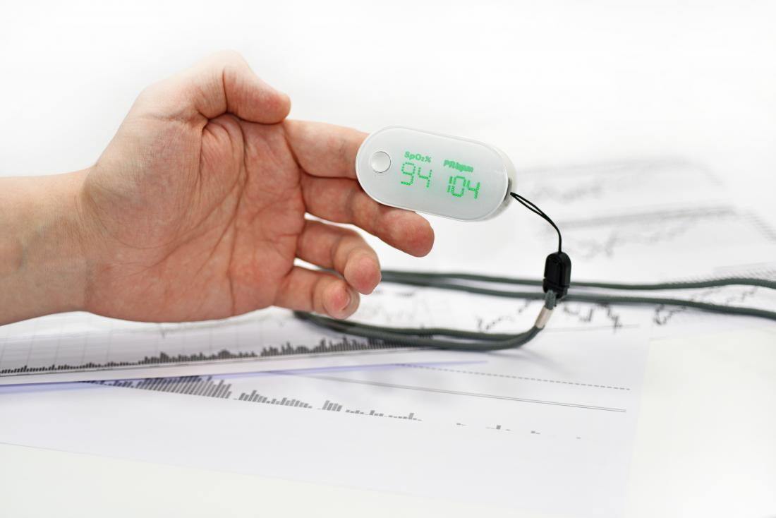 Misurazione del livello di ossigeno nel sangue con pulsossimetro sul dito dell'uomo.
