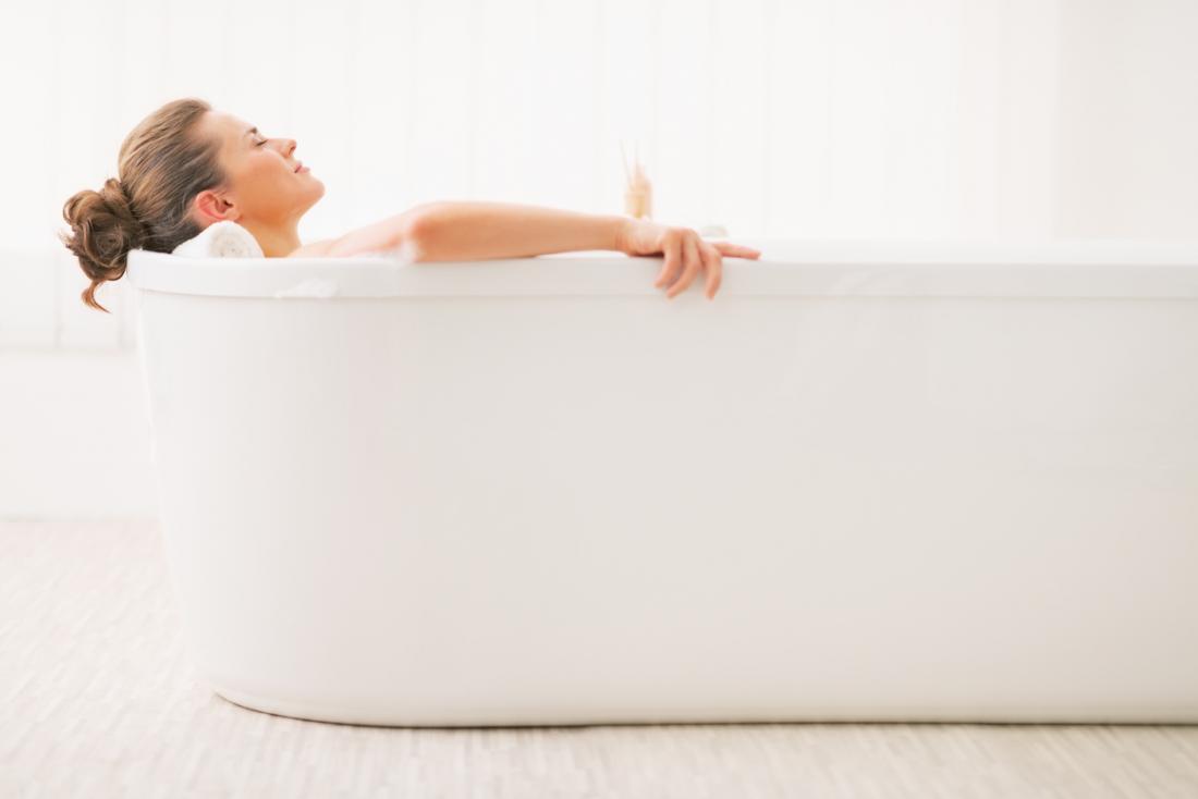 Femme, avoir, bain