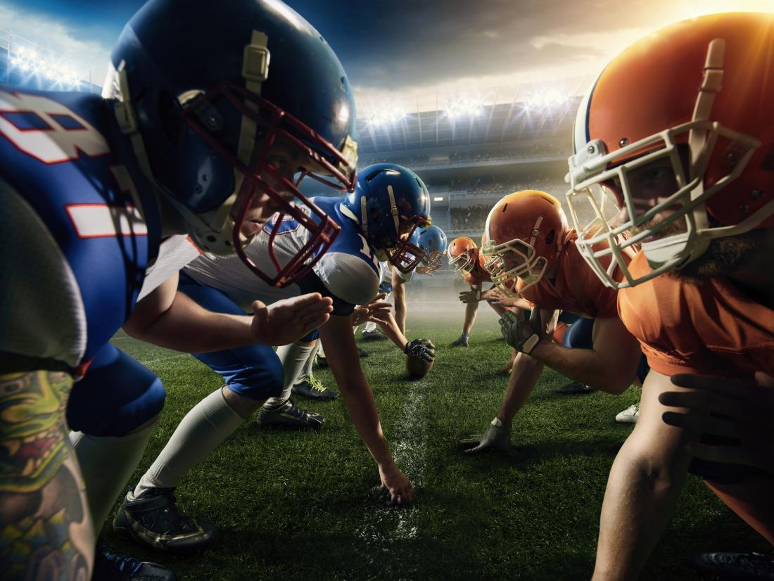 Giocatori di football pronti a fare sport