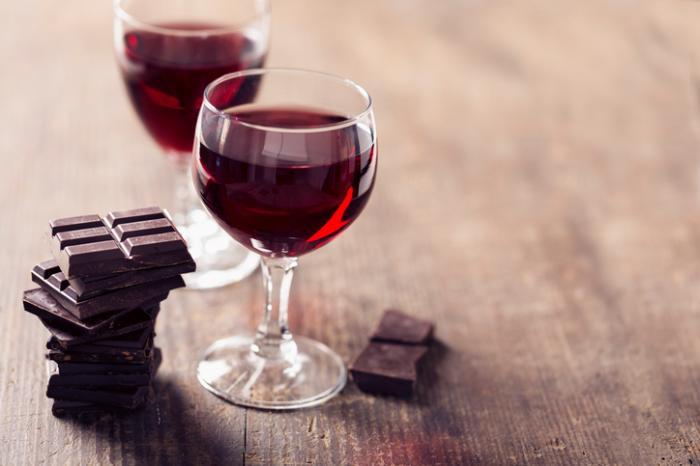 chocolat et vin rouge