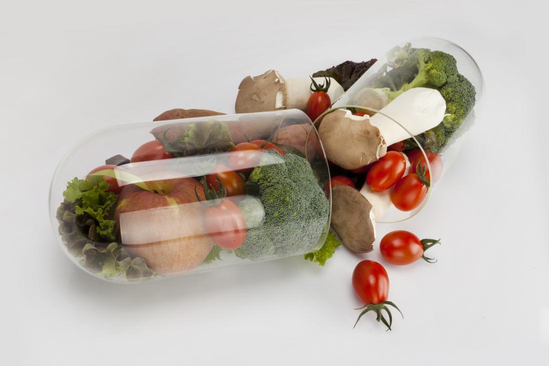 Rau quả trong viên thuốc vitamin