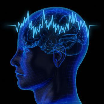 Image du cerveau avec impulsion électrique.