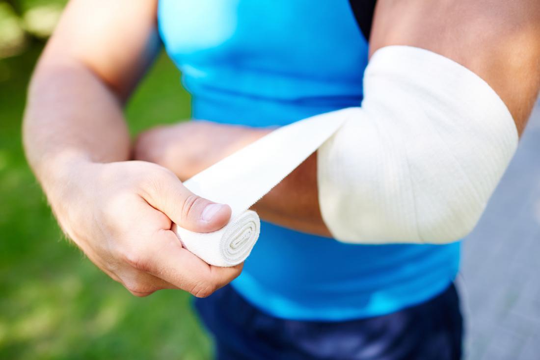 肘と肘に包帯をかける。