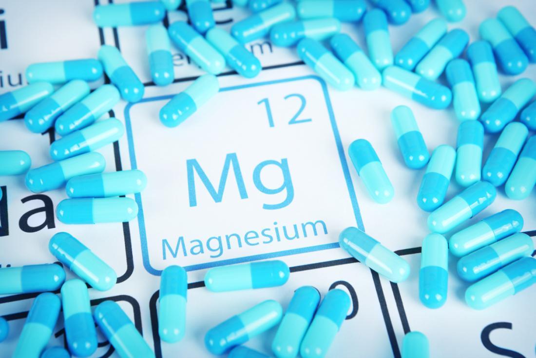 Simbolo di magnesio e pillole