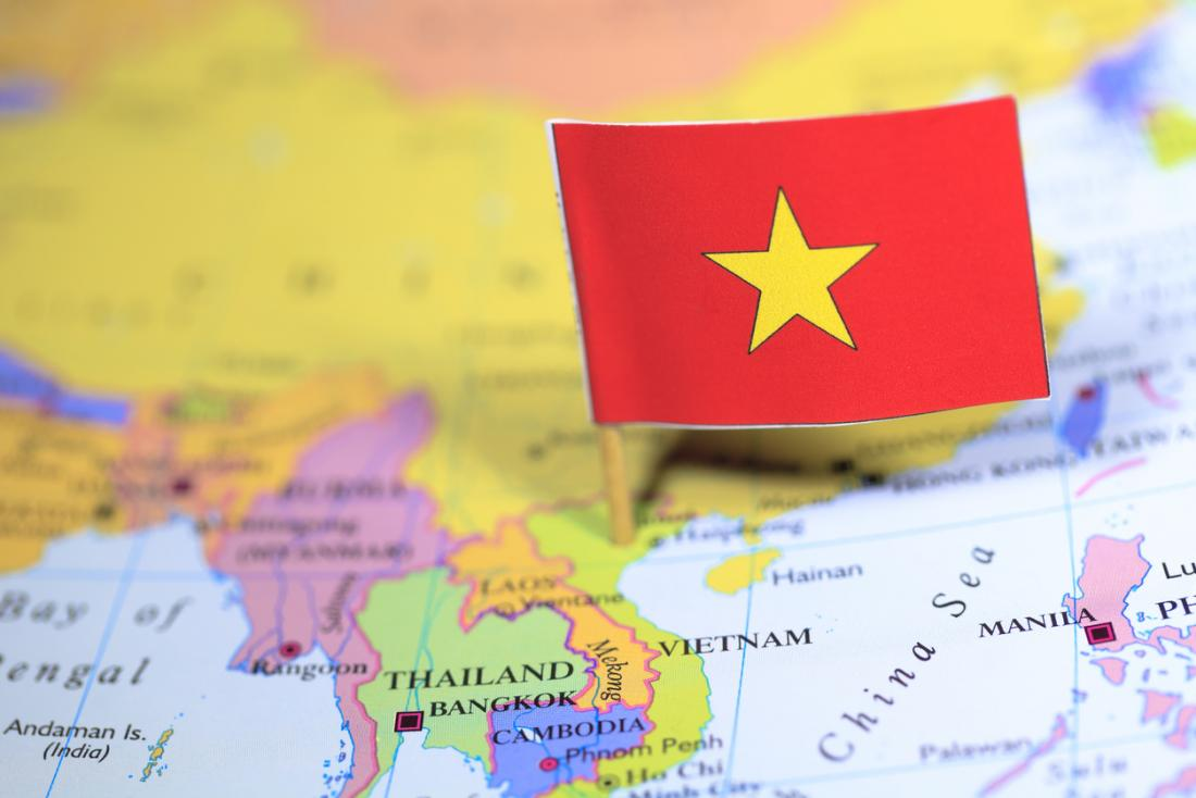 Bandiera del Vietnam e mappa