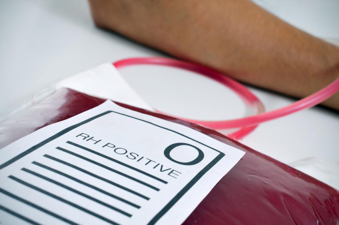 Blutgruppe O RH positiv gesammelt.
