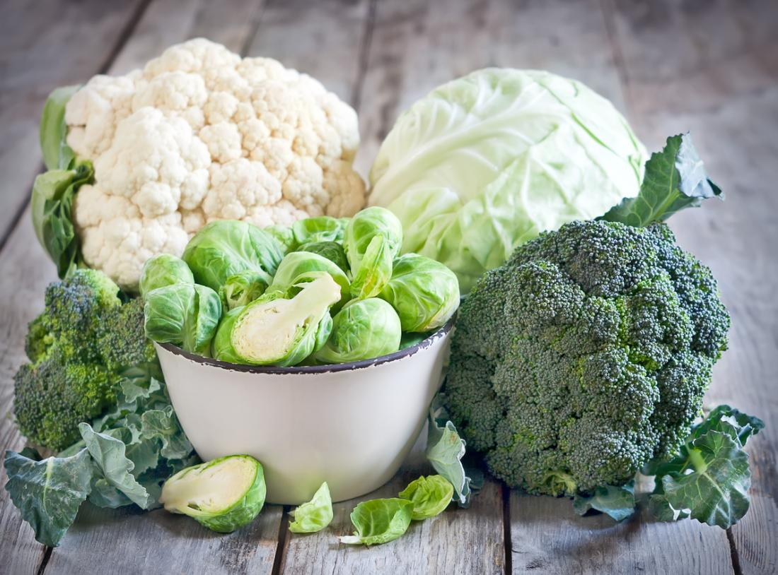 Brassica Familie von Gemüse, einschließlich Brokkoli, Blumenkohl, Rosenkohl und Kohl.