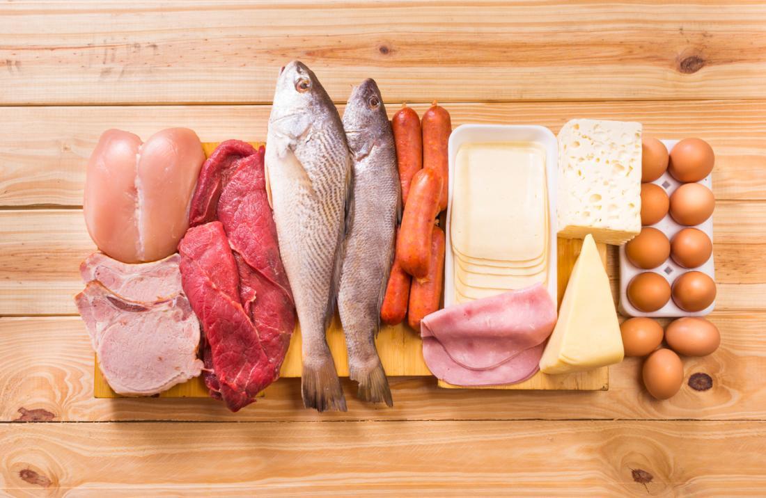 Протеин в рибата, месото и млечните продукти.