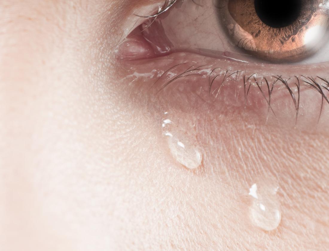 yeux pleurant deux larmes
