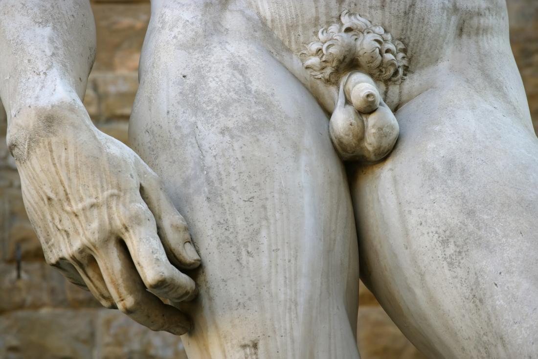 Statue de David avec gros plan sur le pénis