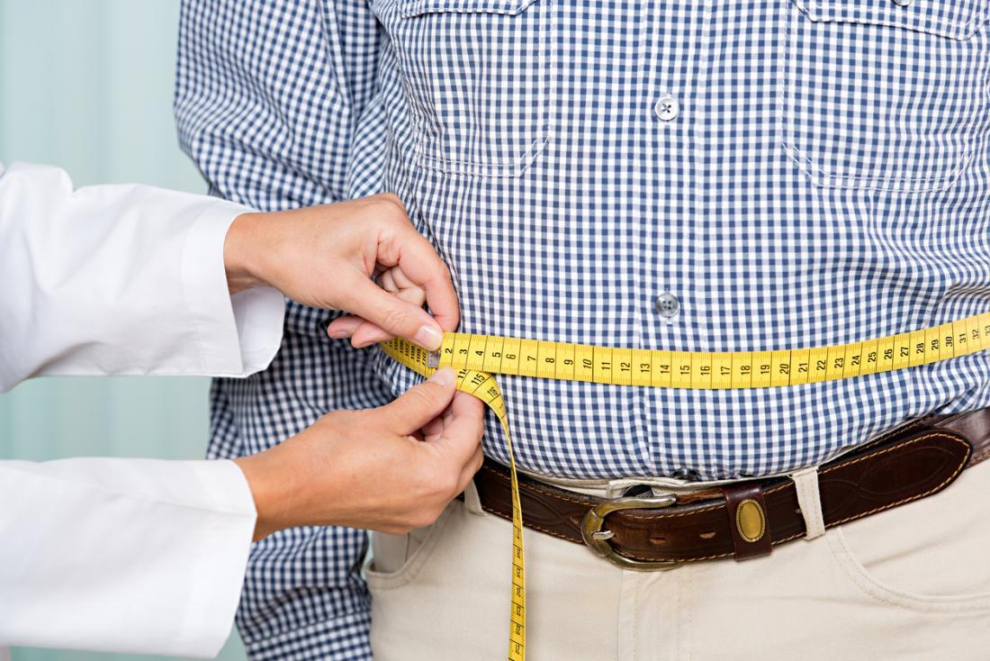 [médico medindo a circunferência da cintura de uma pessoa]