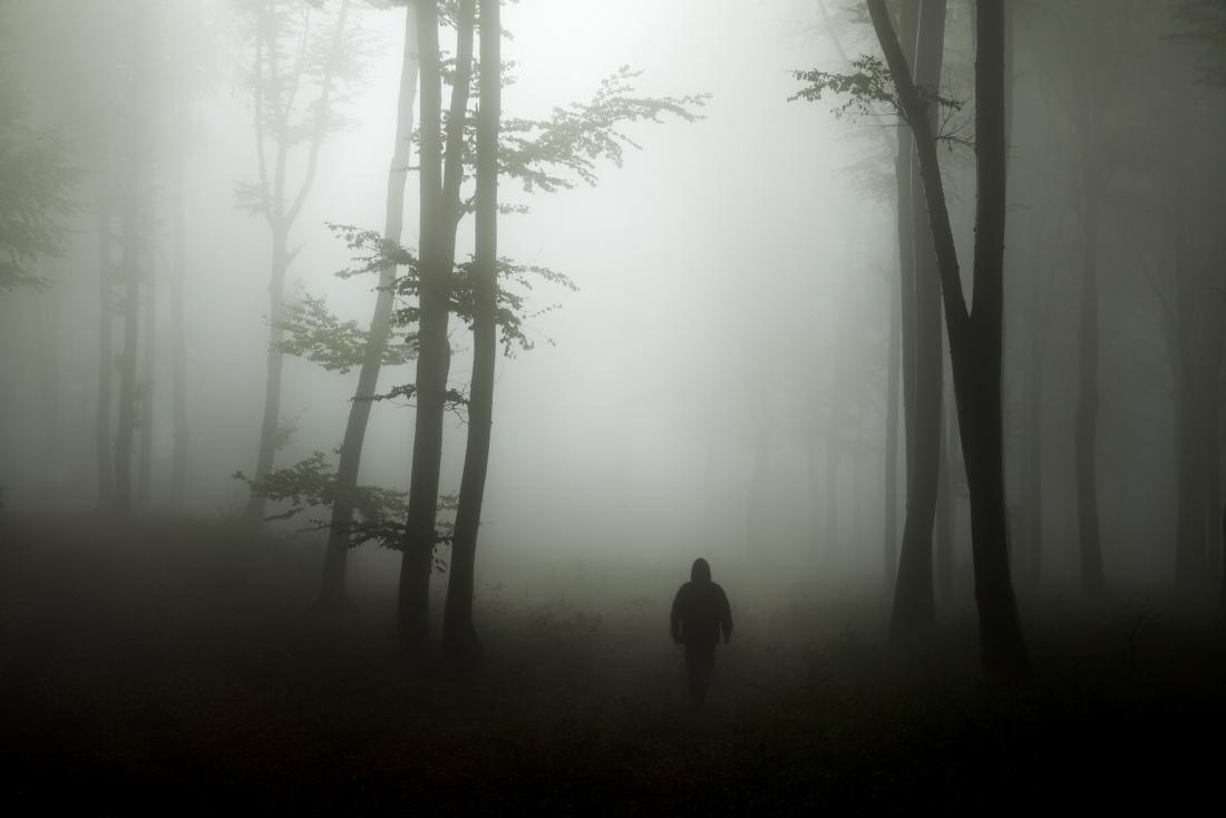 Homem sozinho na floresta escura